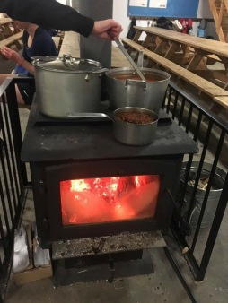 Cooking on a the wood-burning stove